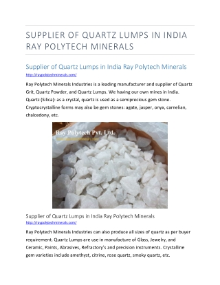 Supplier of Quartz Lumps in India Ray Polytech Minerals