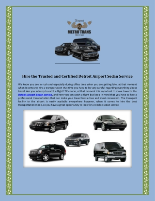 Hire the Trusted and Certified Detroit Airport Sedan Service