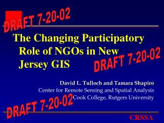 The Changing Participatory Role of NGOs in New Jersey GIS