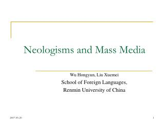 Neologisms and Mass Media