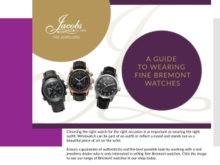 A Guide to Wearing Fine Bremont Watches