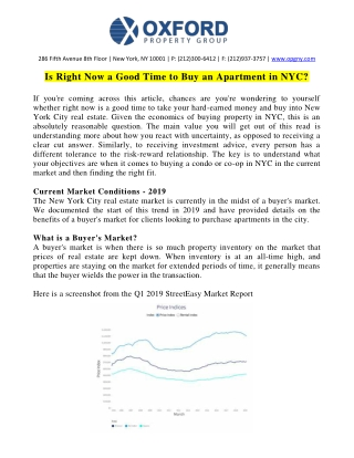 Reasons to Buy an Apartment in New York City By Sid Gandotra