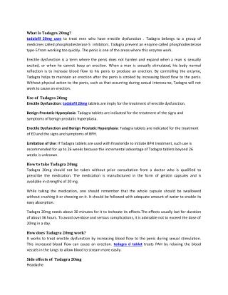 Tadagra 20mg : Reviews, Price, Dosage - Strapcart