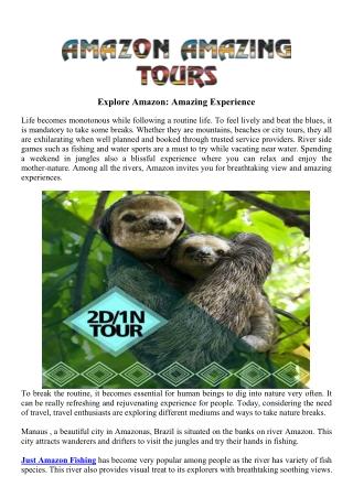 Explore Amazon: Amazing Experience