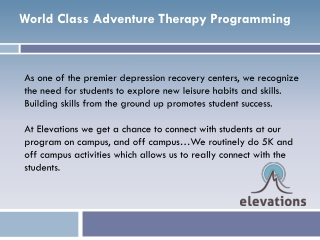 World Class Adventure Therapy Programming - Elevations RTC