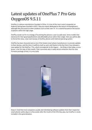 Latest updates of OnePlus 7 Pro Gets OxygenOS 9.5.11