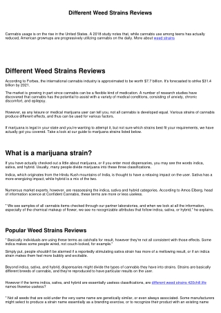 Weed Strains Read First