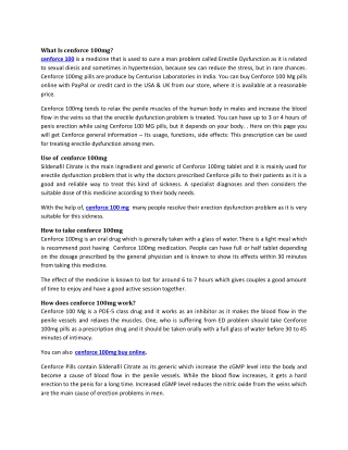 Buy Cenforce 100mg Reviews, Price, Dosage - Strapcart