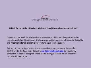 Which Factors Affect Modular Kitchen Prices( Know about some points)?