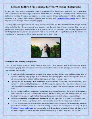 Reasons To Hire A Professional For Your Wedding Photography