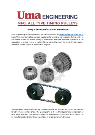 Timing Pulley manufacturer in ahmedabad