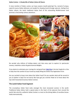 Italian Cuisine – A Heady Mix of Italian Culture & Flavors