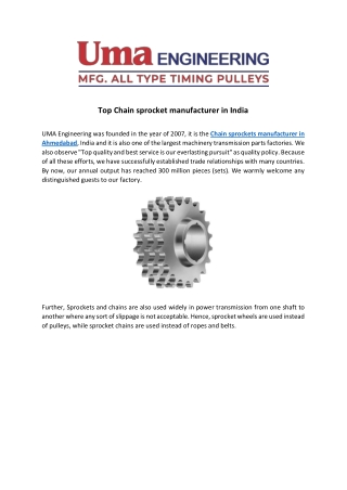 Top Chain sprocket manufacturer in India