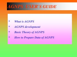 AGNPS  USER `S GUIDE