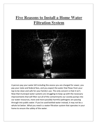 Five Reasons to Install a Home Water Filtration System