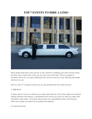 TOP 7 EVENTS TO HIRE A LIMO