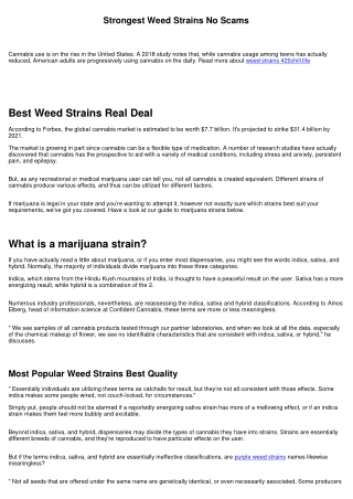 Strongest Weed Strains Read First