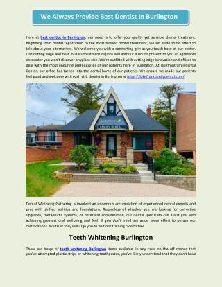 We Always Provide Best Dentist In Burlington