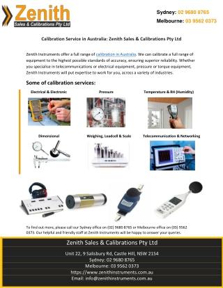 Calibration Service in Australia: Zenith Sales & Calibrations Pty Ltd