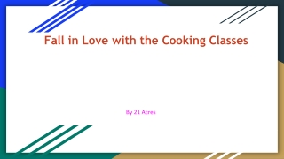 Fall in Love with the Cooking Classes