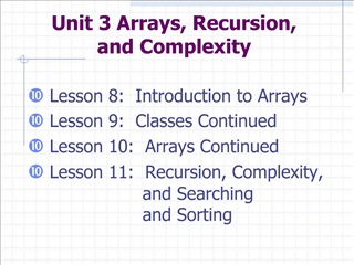 Unit 3 Arrays, Recursion,  and Complexity