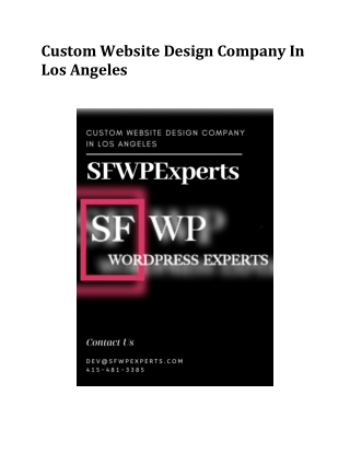Custom Website Design Company In Los Angeles