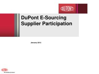 DuPont E-Sourcing  Supplier Participation