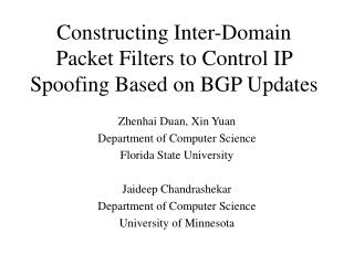 Constructing Inter-Domain Packet Filters to Control IP Spoofing Based on BGP Updates