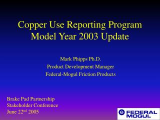 Copper Use Reporting Program Model Year 2003 Update