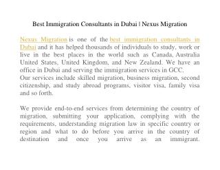Best Immigration Consultants in Dubai | Nexus Migration