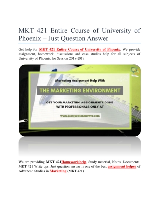 MKT 421 Entire Course of University of Phoenix