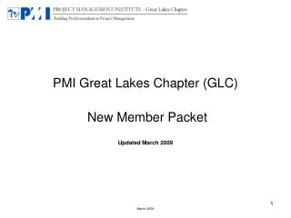 PMI Great Lakes Chapter GLC New Member Packet