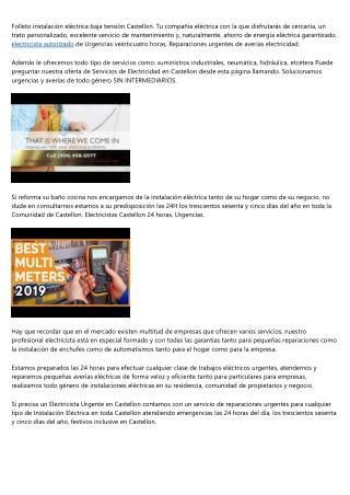 12 empresas que lideran el camino de electricista en Castellon