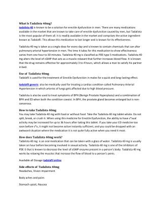 Buy Tadalista 40mg Reviews, Price, Dosage - Strapcart