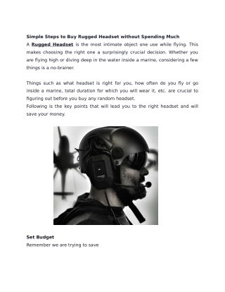 Simple Steps to Buy Rugged Headset without Spending Much