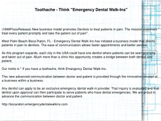 "Toothache - Think ""Emergency Dental Walk-Ins"""