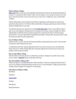 Buy Fildena 150mg Reviews, Price, Dosage - Strapcart