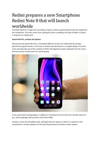 Redmi prepares a new Smartphone Redmi Note 8 that will launch worldwide