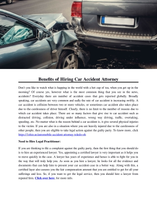 Benefits of Hiring Car Accident Attorney