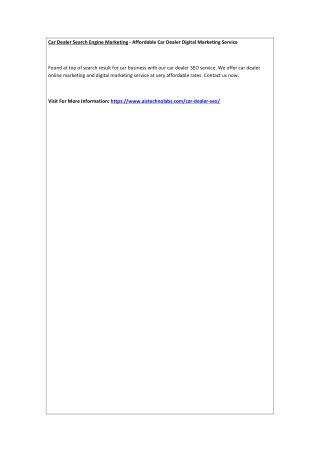 Car Dealer Search Engine Marketing - Affordable Car Dealer Digital Marketing Service