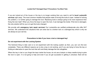 Precautions to take if you have a lost or damaged key