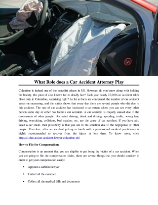 What Role does a Car Accident Attorney Play