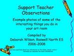 Support Teacher  Observations