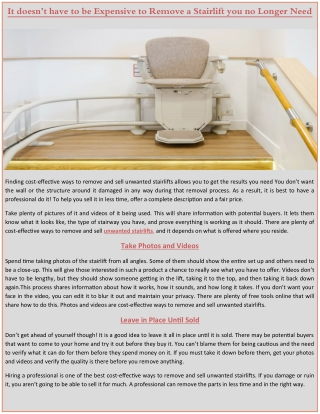 It doesn't have to be Expensive to Remove a Stairlift you no Longer Need.