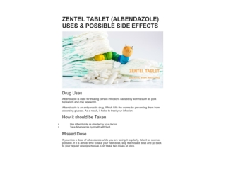 ZENTEL TABLET (ALBENDAZOLE) USES & POSSIBLE SIDE EFFECTS