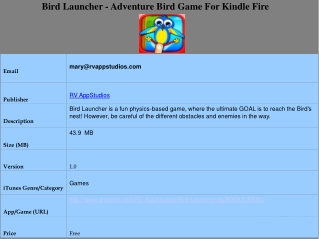 Bird Launcher - Adventure Bird Game For Kindle Fire