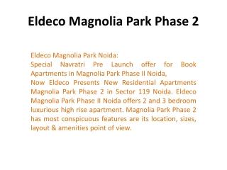 Eldeco Magnolia Park Rate !9873111181! Eldeco Magnolia Park