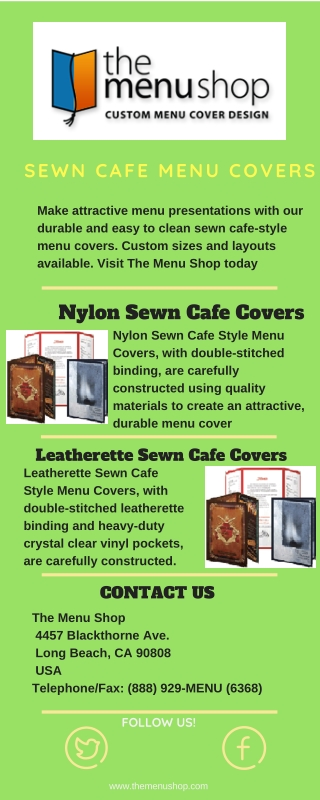 Best Sewn Cafe Style Menu Covers For Restaurant | The Menu Shop