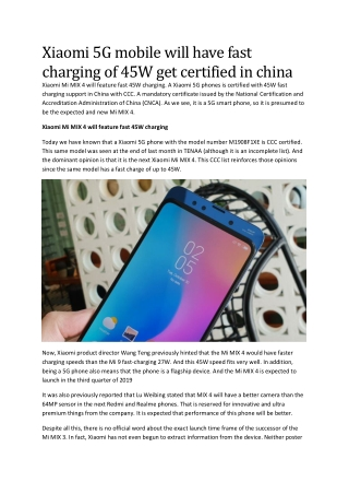Xiaomi 5G mobile will have fast charging of 45W get certified in china